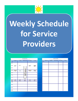 Weekly Schedule for Service Providers