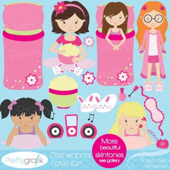 sleepover clipart for scrapbooking, commercial use, vector
