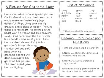 Valentine's Day Listening Comprehension and Articulation Pack