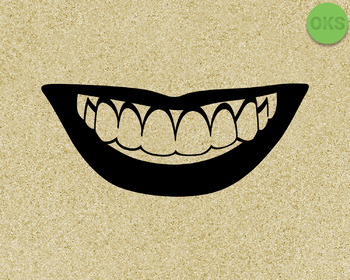 smiling with teeth SVG cut files, DXF, vector EPS cutting file instant download
