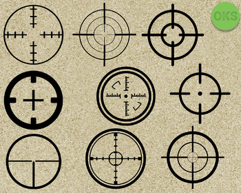 sniper target SVG cut files, DXF, vector EPS cutting file instant download