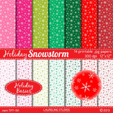 snowflake digital paper in pink, red and green; 14 .jpg files TPT191