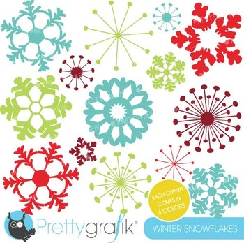 snowflakes clipart commercial use, vector graphics, digital clip art - CL606