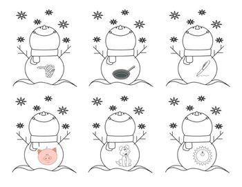 snowman CVC spelling center
