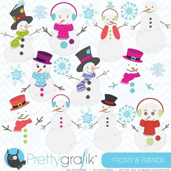 snowman clipart, commercial use, vector graphics, digital