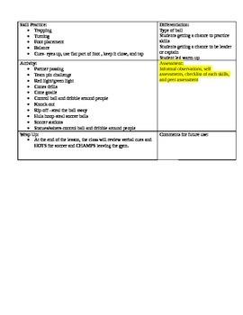soccer lesson plan