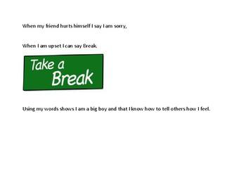 social story, using my words (targeting swearing at school)