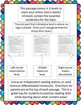 social studies fluency and comprehension passages bundle #2
