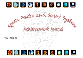 solar system Merit Award Certificate