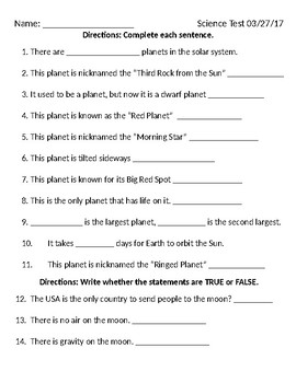solar system study guide and assessment