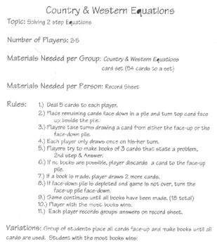 solving equations, card game, algebra, Cindy Boyd