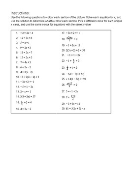 solving one variable equations colour by number worksheet