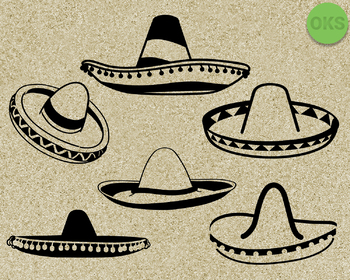 sombrero SVG cut files, DXF, vector EPS cutting file instant download for cricut