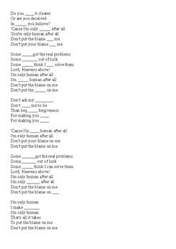 song worksheet Human by Rag 'n' Bone Man