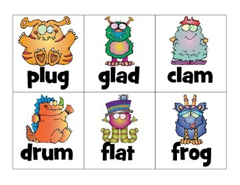 sorting ccvc_real or nonsense words: silly monsters theme
