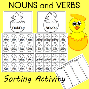 nouns and verbs sorting word cards
