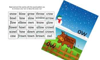 sorting the sound 'ow' as in  cow or snow Phonics Year 1 Reception