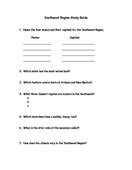 southwest region study guide and test