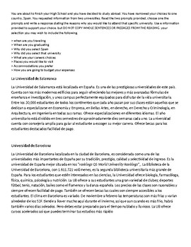 Read to write Spanish - leer para escribir español LOTE exam