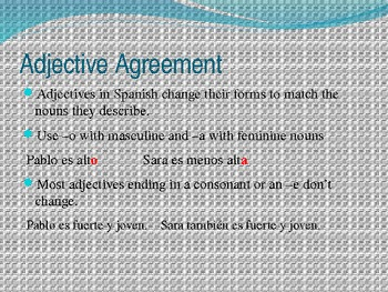 spanish characteristics: adjectives and the verb ser unit
