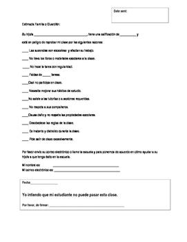 spanish/english behavior outreach form