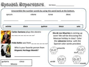 spanish homework spanish superstar 1st grade numbers calavera  spanish reading
