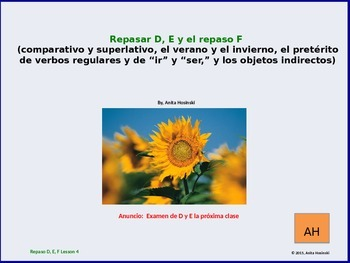 2nd year spanish asi se dice Repasos D, E & F teacher lesson 4 on power point