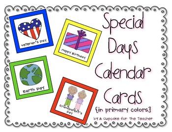 Special Days Calendar Cards {Primary Colors}