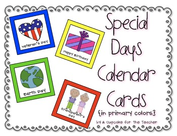 Special Days Calendar Cards {Primary Colors}