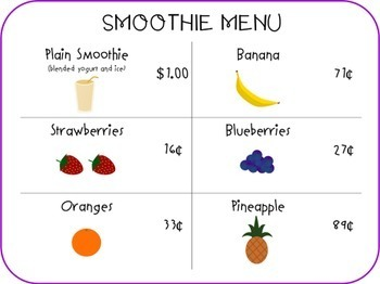 Fruit Smoothies for Sale Counting Money Unit