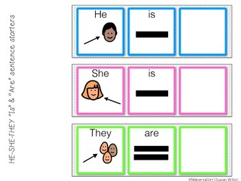 SPEECH THERAPY Sentence Starters Strips he she they is are noun nouns grammar
