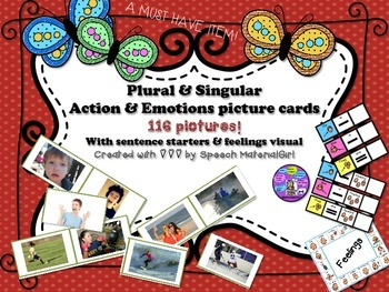 speech therapy action & emotion feelings PICTURES visuals sentence starters