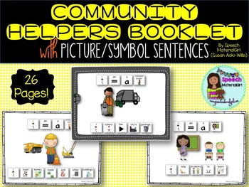 speech therapy community helpers booklet w/ visual sentences autism special ed