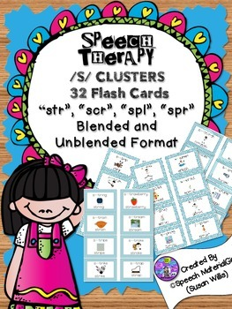 speech therapy /s/ cluster 32 Flash Cards spl spr scr str blended unblended