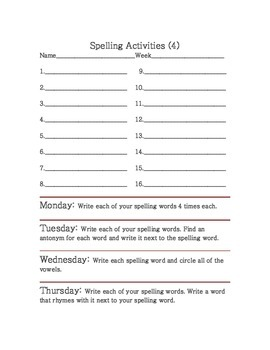 spelling activities printables