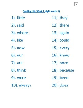 spelling lists - 10 sets of 20 words each!