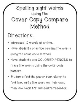 Spelling: Spelling sight words- Cover Copy Compare Method - Fry words 101-200