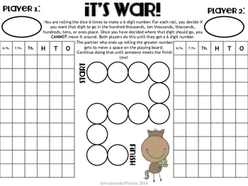 It's War Place Value Game