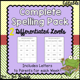 Spelling with 2 Differentiated Levels and Letters to Parents for Each Week