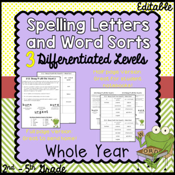 Differentiated Spelling with Letters to Parents