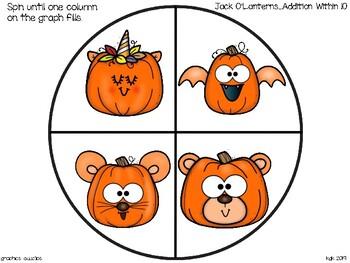 spinner_addition within 10_jack o' lantern theme + bonus alphabet strip puzzle