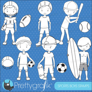sports boys stamps commercial use, vector graphics, images - DS518