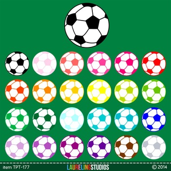 sports clip art soccer ball in 25 colors - digital .png fi
