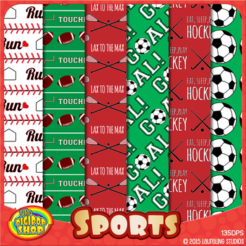 sports digital paper with baseball, soccer, football, hockey, lacrosse patterns