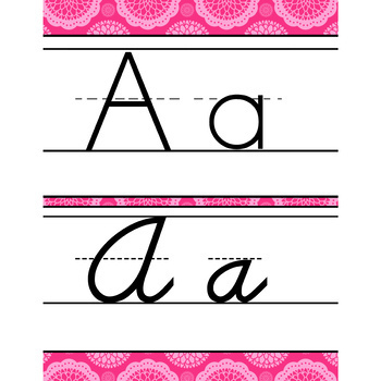 spring PAISLEY - Classroom Decor - Alphabet, Handwriting, ABC print, D'Nealian