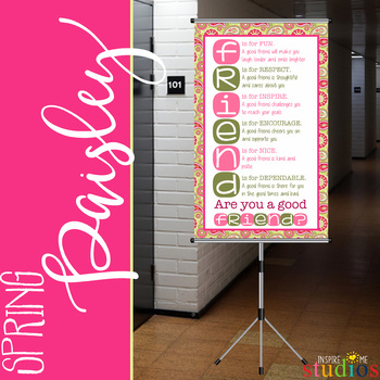 spring PAISLEY - Classroom Decor - BANNER - MED - Are You a Good Friend