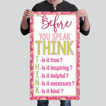 spring PAISLEY - Classroom Decor - BANNER - SMALL - Before You Speak THINK