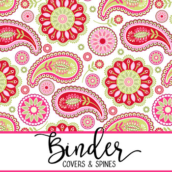 spring PAISLEY - Classroom Decor, BINDER covers - Teachers & Students, editable