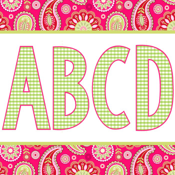 spring PAISLEY - Classroom Decor, bulletin board letters, numbers, punctuation