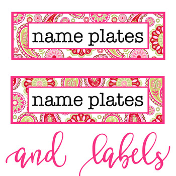 spring PAISLEY - Classroom Decor, desk name plates, labels, Really Good Stuff